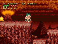 snes joe and mac volcano level