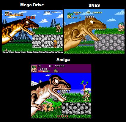 Joe and Mac Comparison: SNES Vs Genesis Vs Amiga